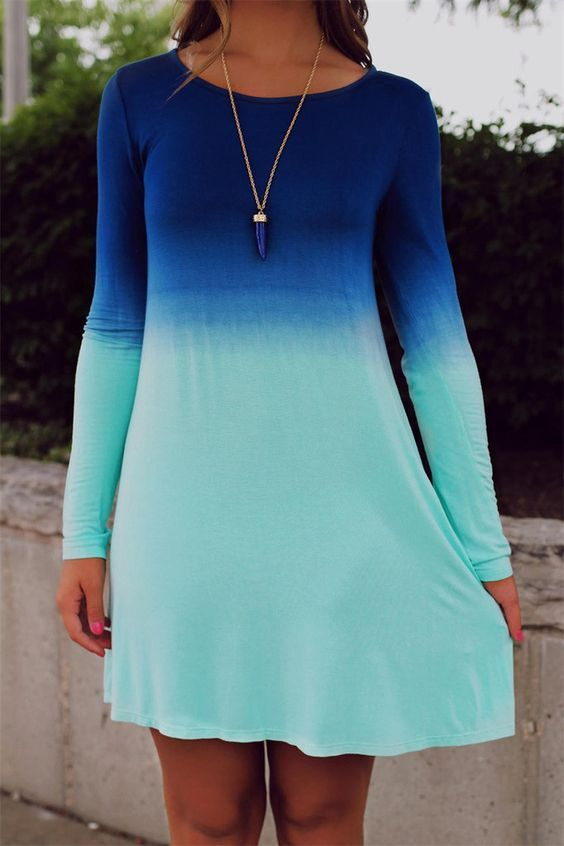 ombre vestido azul