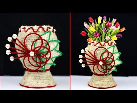 How To Make Plastic Bottle And Jute Rope Combination Flower Vase Jute Rope Craft Decoration Design Youtube Rope Crafts Crafts Jute Crafts