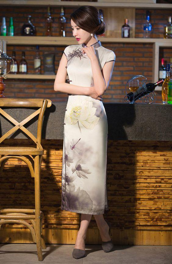 Lotus floral bamboo Chinese watercolor print light grey cheongsam traditional mandarin collar long Chinese dress FMS-02130 006