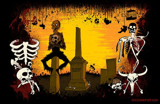 Grave Robbing in Texas  Original Art Print by The by thezombified, $15.00