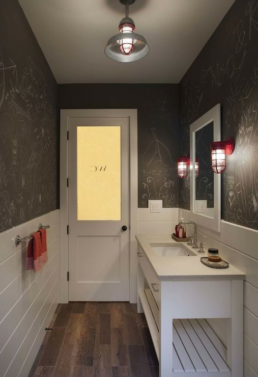 Frosted Glass Door Opens To Long Powder Room Features