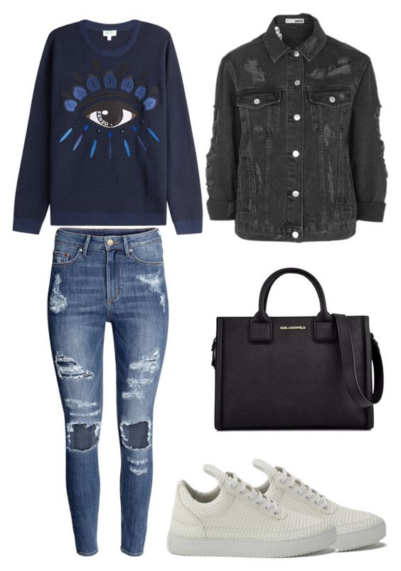 """""""stylish school outfit"""" by delanabeabergs ❤ liked on Polyvore featuring H&M, Kenzo, Filling Pieces, Topshop and Karl Lagerfeld"""