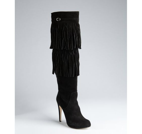 Charles David black suede fringe tall boots