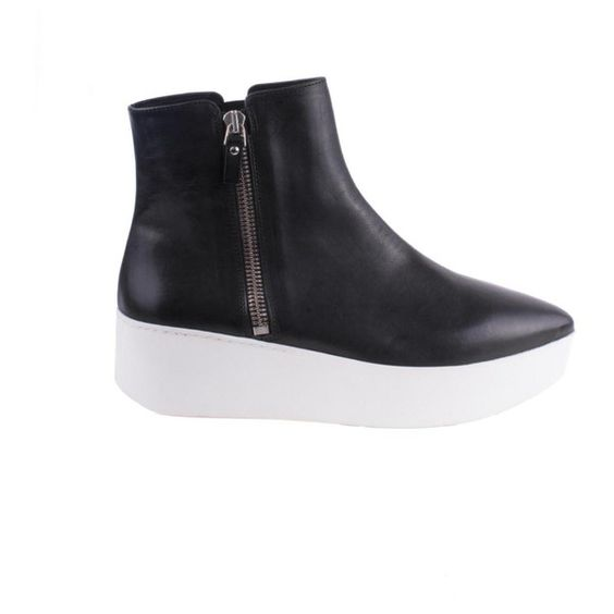Kubrick Ankle Boot - Black W White Sole ($419) ❤ liked on ...