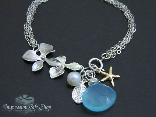 beautiful chalcedony, pearl and sterling silver bracelet by mandyss on Etsy