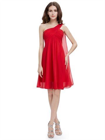 Red Chiffon One Shoulder Empire Waist Beauty Short Cheap ...