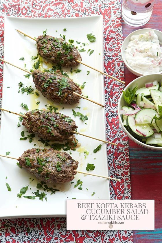 beef kofta kebabs with cucumber salad and tzaziki sauce recipe kofta kebab tzaziki sauce recipe pinterest