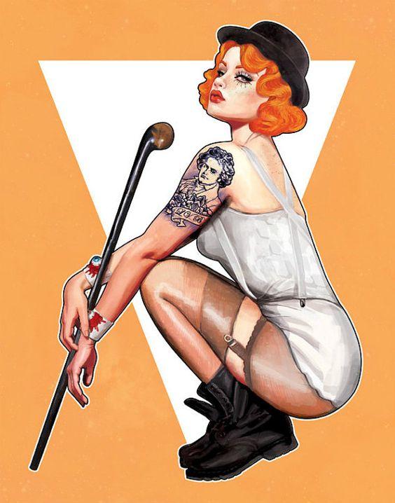Miss Moloko, Clockwork Orange Pin Up Illustration Art Print 8.5x11 on Etsy, $15.00