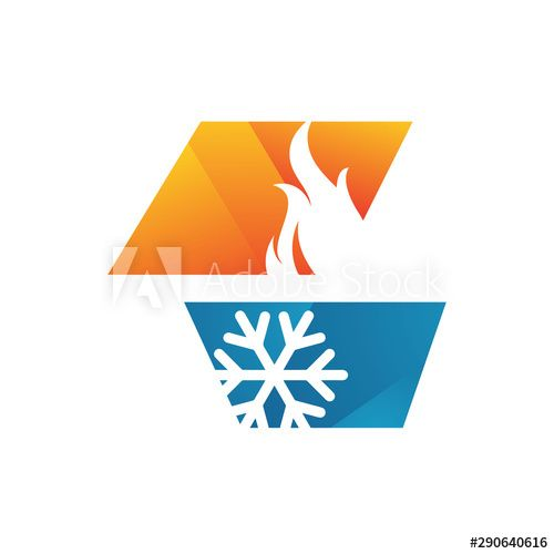 Abstract Heating And Cooling Hvac Logo Design Vector Business