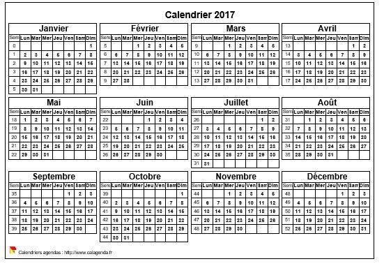 Calendrier 2017 annuel de format paysage.