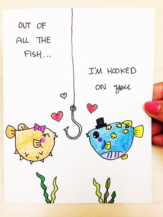Valentines Day Card, Out of all the fish, Im hooked on you, hand drawn just for your husband, boyfriend, wife or girlfriend. Its great for: