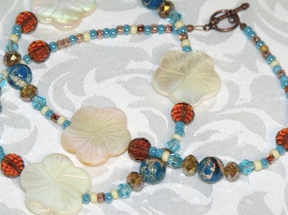Blue Brown and Ivory Bead Necklace  sand and by CJKingOriginals, $24.50