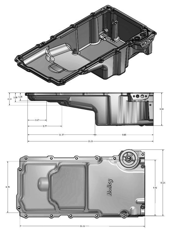 Holley 301 2 Front Clearance Ls Retro Fit Oil Pan Dimensions Chevy Ls Engine Oil Pan 2006 Pontiac Gto