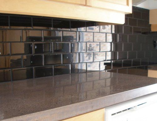 Black subway tile kitchen backsplash for the home for Black kitchen backsplash
