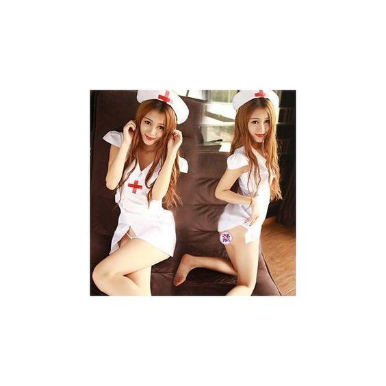 Nurse Lingerie Costume (£8.20) ❤ liked on Polyvore featuring costumes, innerwear, women, nurse costume, ladies costumes, lady costumes, ladies halloween costumes and nurse halloween costume