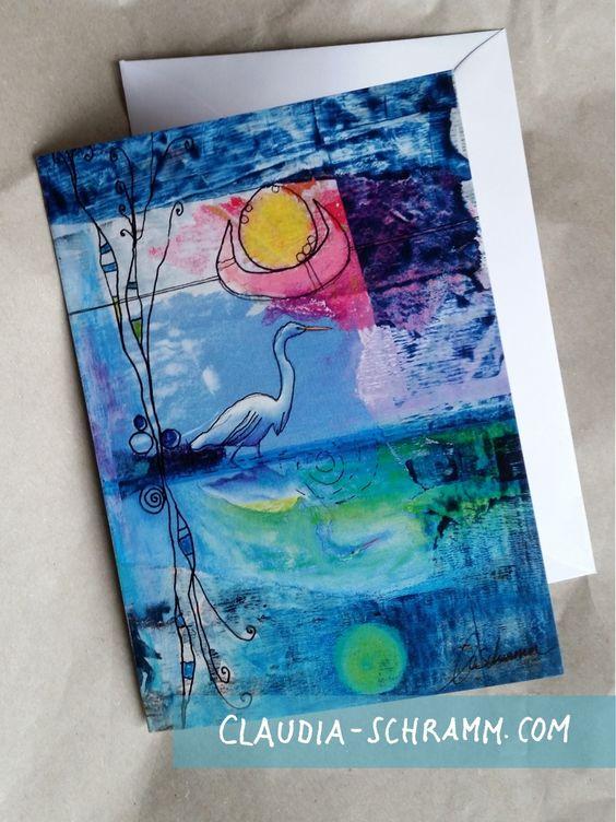 Grußkarte See › Claudia Schramm  #heron #Fischreiher #Reiher #See #Grußkarte #Klappkarte #greetingcard claudia-schramm.com