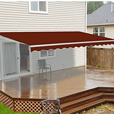 16 Ft W X 10 Ft D Motorized Retraction Slope Patio Awning Patio Canopy Patio Flooring Patio Awning