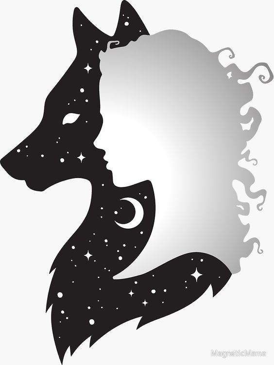 Sticker «Elle loup femme et loup avec la lune et les étoiles», par MagneticMama   Redbubble