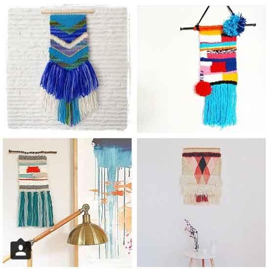 {Top Left} @vanessakind {Top Right} @rarepearstudio {Bottom Left} @meldzam {Bottom Right} @amandavaniakiat - woven wall hangings
