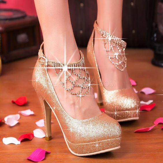 Shining Stiletto Prom Shoes with Rhinestone Tassels 3
