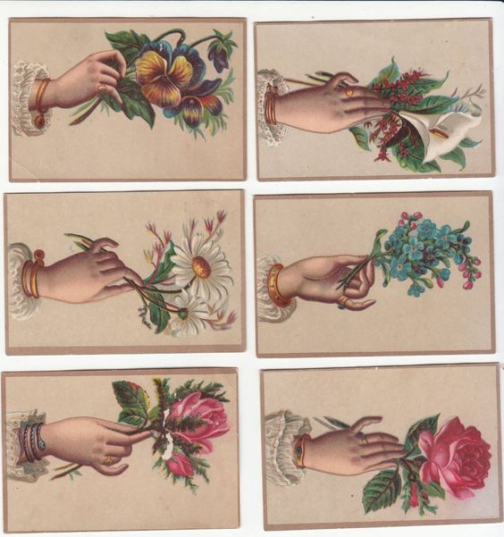 6 Brown Cards with Hands Holding Flowers No Advertising Victorian Card 1880s