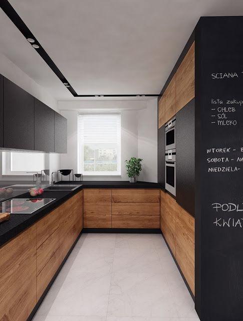 Moje Idealia Blog Lifestylowy Diy Wnetrza Ciaza I Macierzynstwo Uroda Kuchnia Czern I Drewno Najmodniejszy Trend W Aranzacji Kuchni Long Narrow Kitchen Kitchen Room Design Modern Kitchen Design