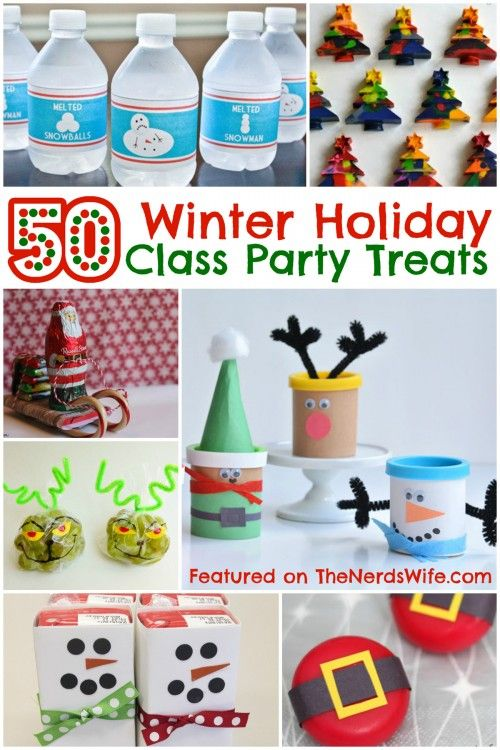 50 Winter Holiday Class Party Treats! From store-bought snacks to homemade treats, to non-food goodies, this list has everything you need for Christmas classroom parties.
