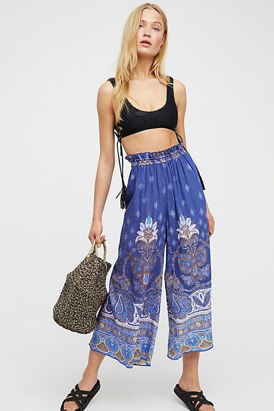 Slide View 1: Gold Dust Printed Wide Leg Pants