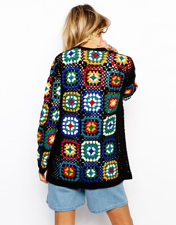 """Кофта крючком, узор """"бабушкин квадрат""""  #Patchwork_crochet_cardigan #granny_square"""