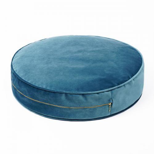 Sitzkissen Rund Pouf Samtig Gross Bean Bag Chair Sea Green Color