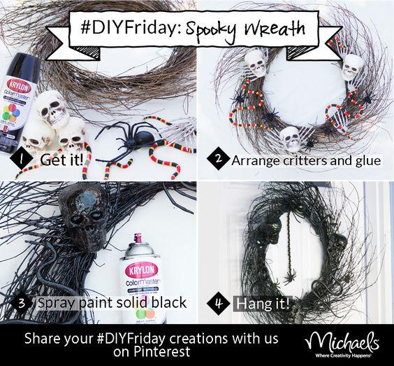 DIYFriday Spooky Wreath Materials: Twig wreath, black Krylon spray paint,  Foam skulls, plastic spiders, snakes, skeleton hands, and hot glue.