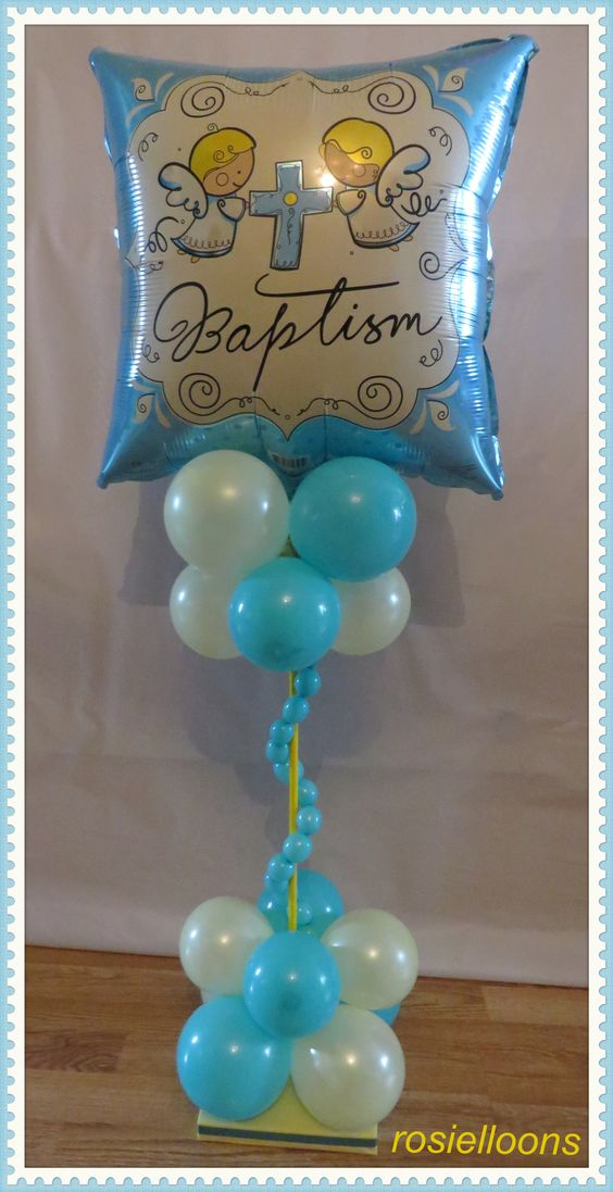 Baptism balloon decor bautismo pinterest baptisms for Balloon decoration ideas for christening