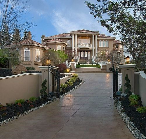 Top 50 Best Concrete Driveway Ideas Front Yard Exterior Designs Luxury Homes Dream Houses House Styles Dream House Interior