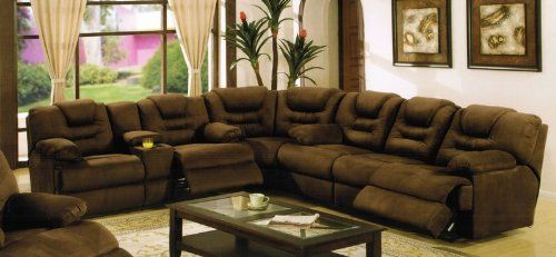 Sectional Recliner Sofa with Cup Holders in Chocolate Microfiber. Sort of what our next couch is going to be like!