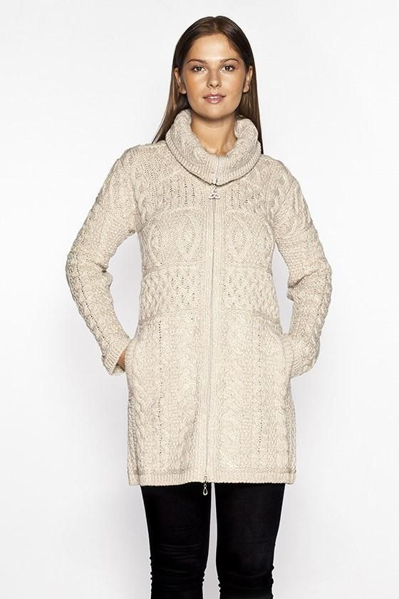 Women's Cable Knit Sweater Coat Parsnip | Knit sweater