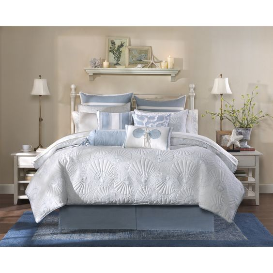 The Harbor House Crystal Beach collection features an all over quilted comforter with sea shell motifs.