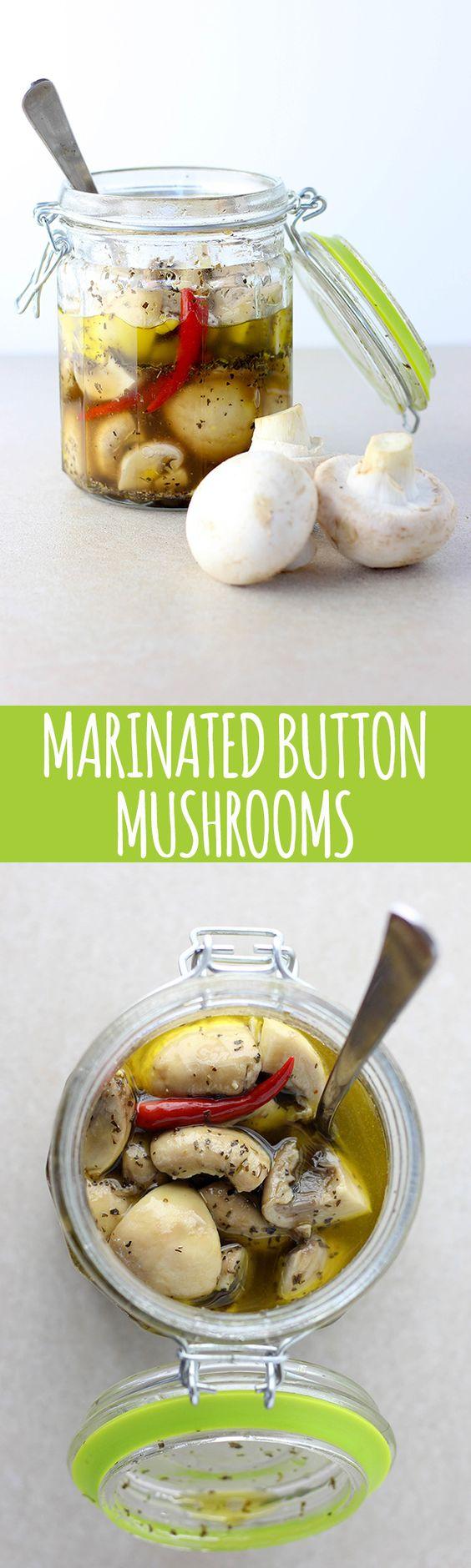 Yummy marinated mushrooms to add to salads and antipasto platters. -Vegan Mariposa