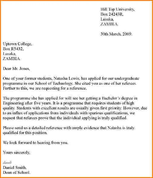 Letter Of Recommendation For A Student Reference Letter For