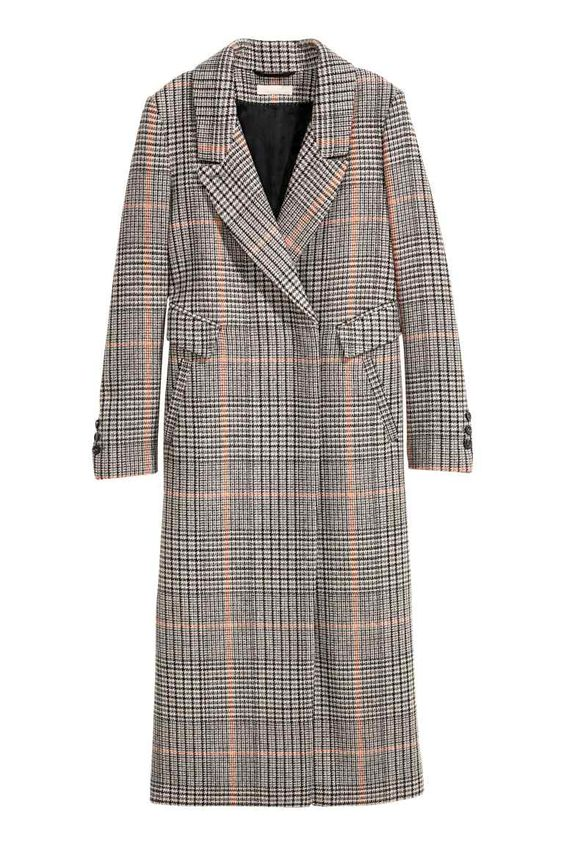 SHOP A/W 16: Love the hint of pink in this grey check wool-blend coat.
