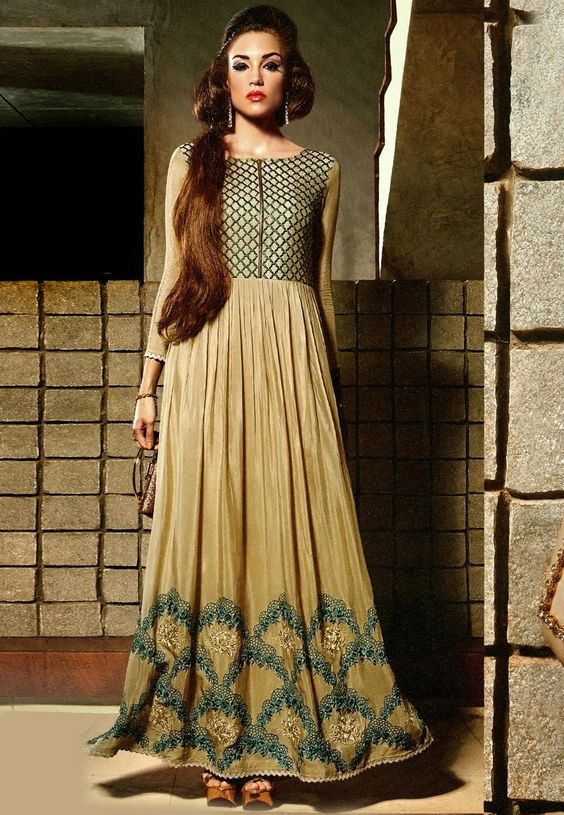 Beige Faux Crepe Readymade Dress: TPX64