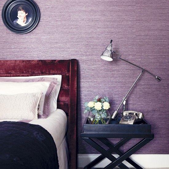 Lilac bedroom | Textured wallpaper | Headboard | Image | Housetohome