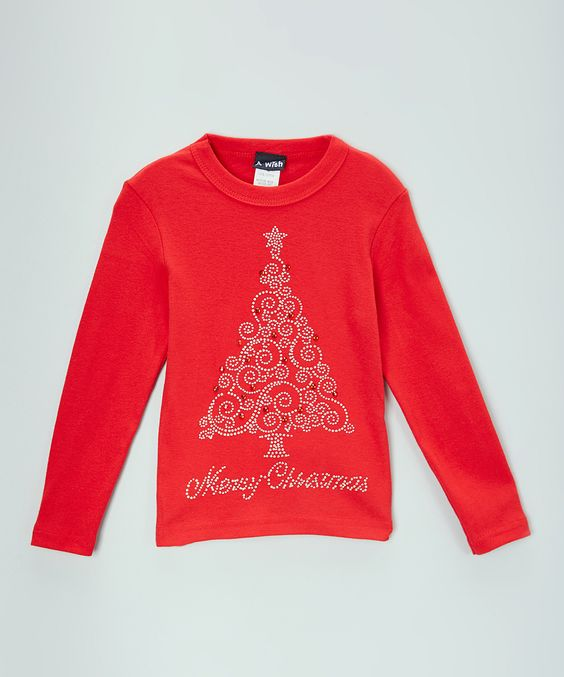 Red 'Merry Christmas' Tree Tee - Infant, Toddler & Girls