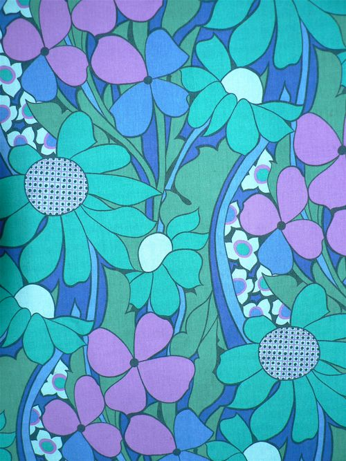 Hanging Gardens Vintage Fabric purple aqua turquoise teal