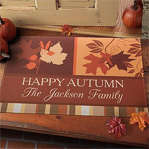 "The leaves on this doormat are so pretty and elegant! It's Personalization Mall's ""Happy Autumn"" Personalized Doormat ... it's on sale now for only $16.05! LOVE IT! #Fall #Leaves #Sale"