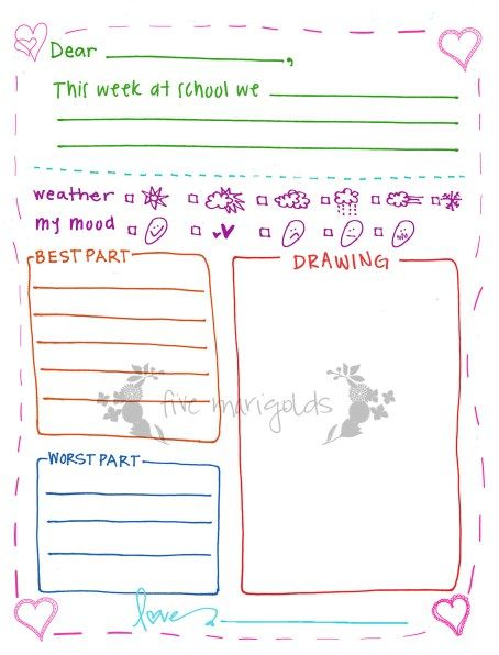 Free printable letter template with writing prompts for kids. Good for writing pen pals, grandma and grandpa, or writing home from summer camp.