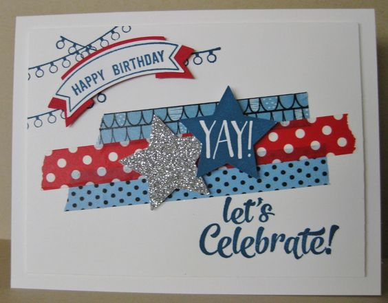 Barb Mann Stampin' Up! demonstrator - Happy July Birthday Card - SU - Confetti Celebration, Number of Years, Thoughtful Banners