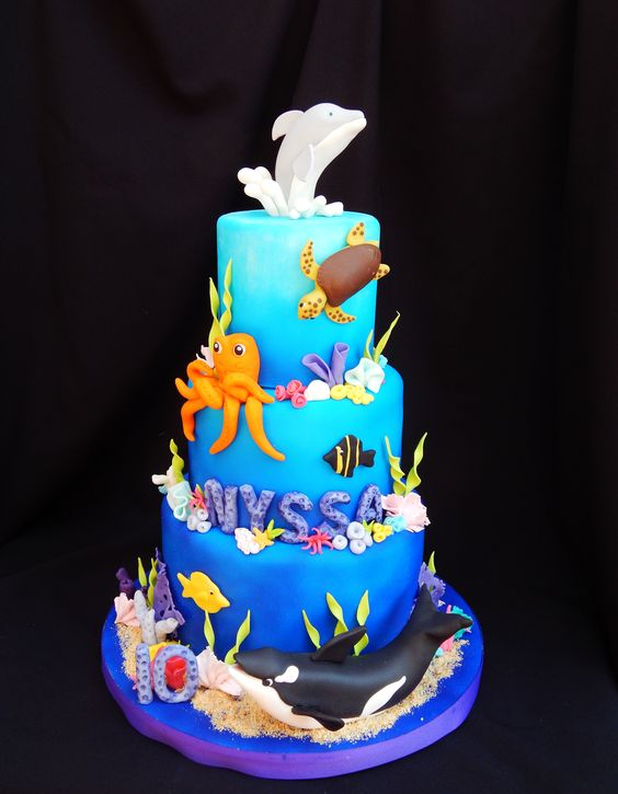 ocean cake- 5/7/9 airbrushed fondant dolphin, whale, turtle, fish, coral under the sea cake