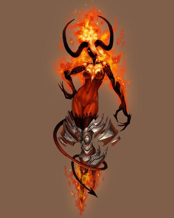 Demon girl, Life and The games on PinterestFemale Fire Elemental