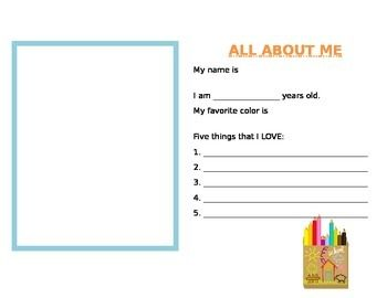 Perfect for the beginning of school or for new students throughout the year! Two different versions included. Students fill out about themselves and draw a picture.  Free on tPt. The Teaching Aid.