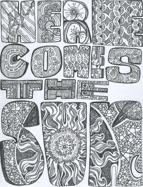 american hippie color page here comes the sun - Psychedelic Hippie Coloring Pages